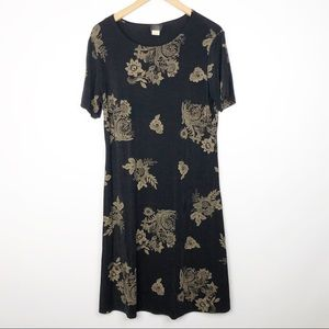 Teddi Vintage Black and Tan Floral Dress